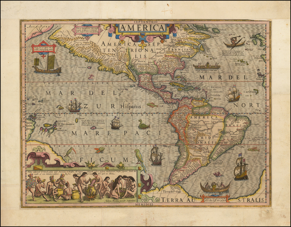 5-Western Hemisphere, South America and America Map By Jodocus Hondius