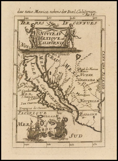 92-Baja California and California Map By Alain Manesson Mallet