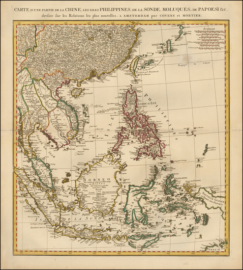 11-China, Southeast Asia, Philippines and Indonesia Map By Johannes Covens  &  Cornelis Mortie