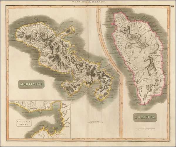 71-Caribbean, Other Islands and Martinique Map By John Thomson