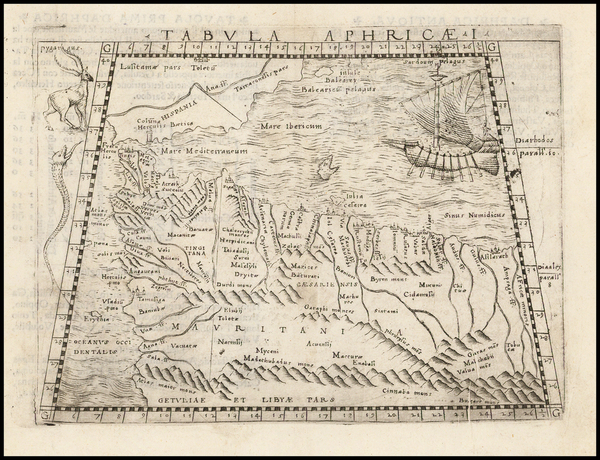 79-Spain, Mediterranean, Balearic Islands and North Africa Map By Giacomo Gastaldi