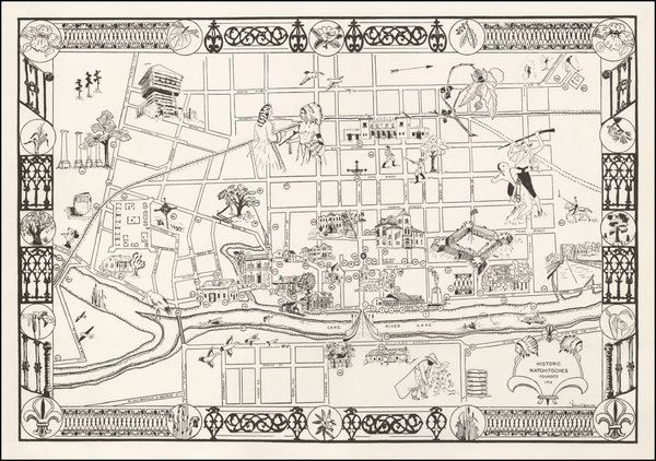 0-South, Louisiana and Pictorial Maps Map By