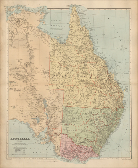 82-Australia Map By Edward Stanford