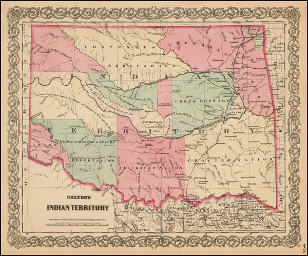 56-Plains, Oklahoma & Indian Territory and Southwest Map By G.W.  & C.B. Colton