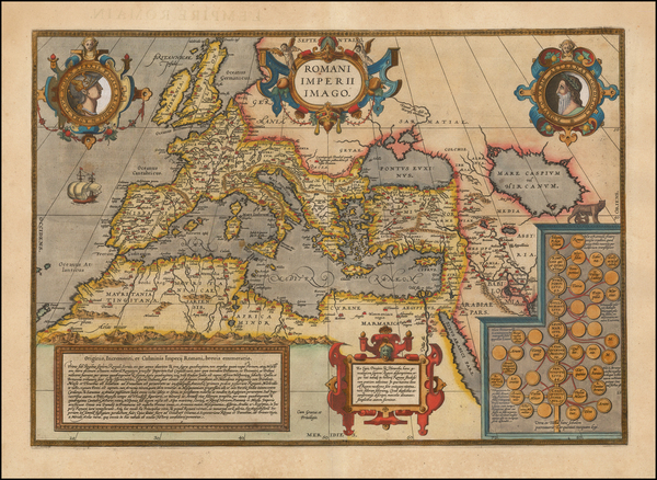 81-Europe, Italy, Mediterranean, Balearic Islands and Turkey & Asia Minor Map By Abraham Ortel