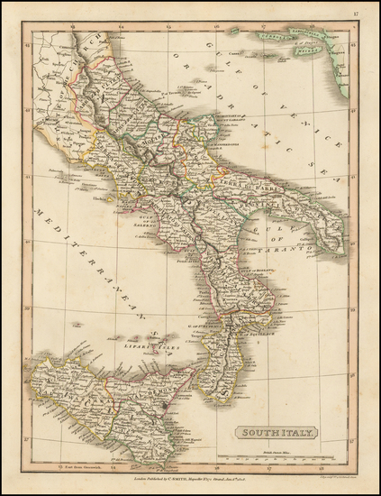 74-Italy, Southern Italy and Sicily Map By Charles Smith