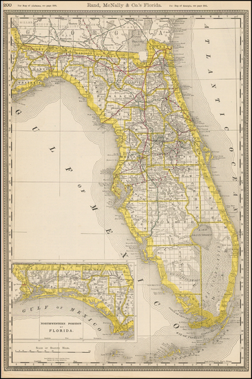55-Florida Map By William Rand  &  Andrew McNally