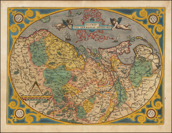 77-Netherlands and Luxembourg Map By Abraham Ortelius