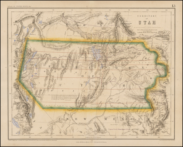 20-Southwest, Rocky Mountains and Utah Map By Henry Darwin Rogers  &  Alexander Keith Johnston
