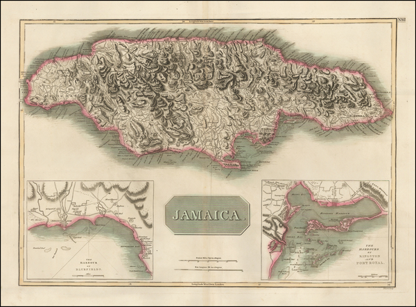 67-Caribbean and Jamaica Map By John Thomson