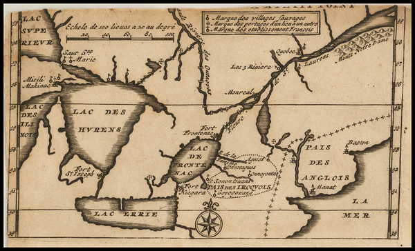 39-New England, Midwest and Canada Map By Baron de Lahontan