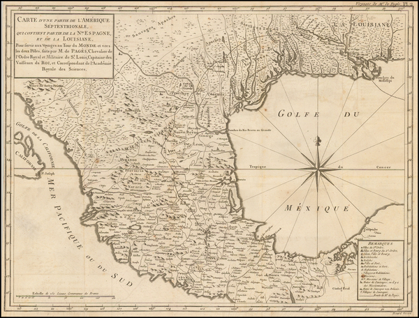 40-South, Texas, Southwest and Mexico Map By Pierre de Pages