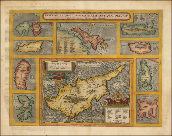 25-Greece, Turkey, Balearic Islands and Cyprus Map By Abraham Ortelius