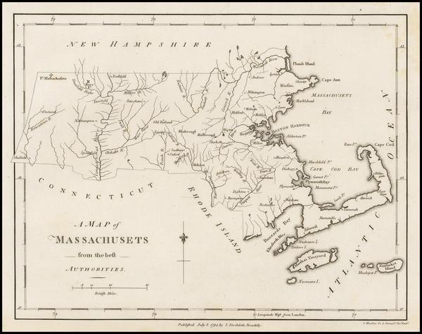 1-New England and Massachusetts Map By John Stockdale
