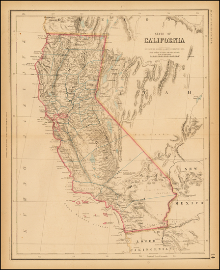 59-Nevada and California Map By Henry Darwin Rogers  &  Alexander Keith Johnston