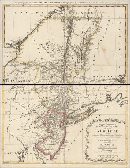 72-New England, New York State and Mid-Atlantic Map By Homann Heirs / Claude Joseph Sauthier