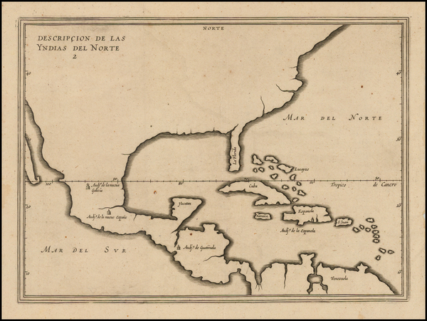 99-United States, Florida, South, Southeast and Mexico Map By Antonio de Herrera y Tordesillas
