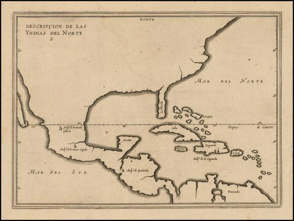 32-United States, Florida, South, Southeast and Mexico Map By Antonio de Herrera y Tordesillas