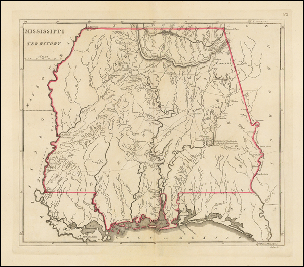 1-South, Alabama and Mississippi Map By Mathew Carey