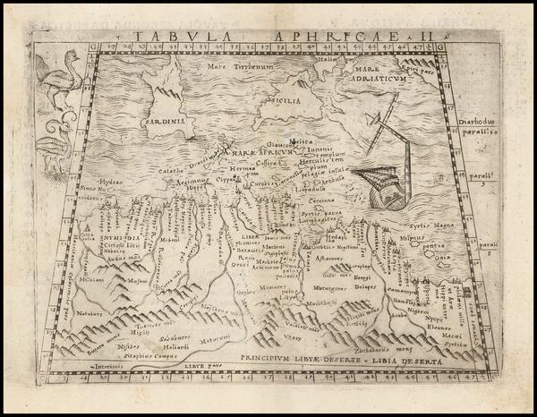 37-Mediterranean, Balearic Islands and North Africa Map By Giacomo Gastaldi