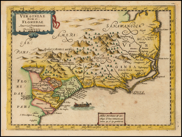 60-Southeast, North Carolina and South Carolina Map By Johannes Cloppenburg