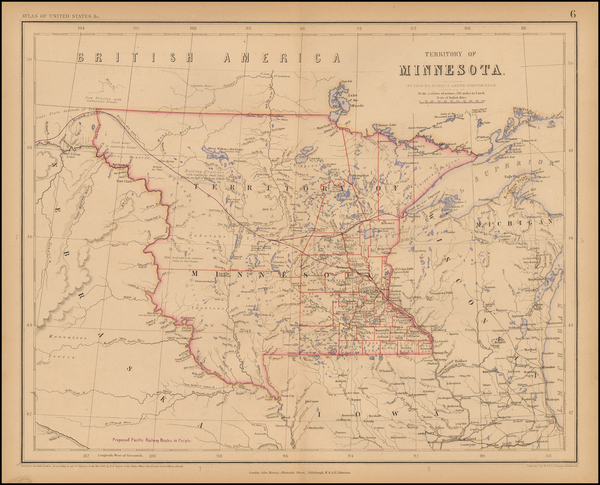 30-Midwest, Minnesota and Plains Map By Henry Darwin Rogers  &  Alexander Keith Johnston