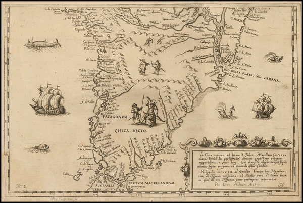 South America and Chile Map By Levinus Hulsius