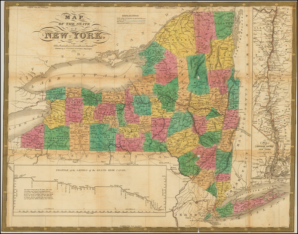 2-New York State Map By Samuel Augustus Mitchell