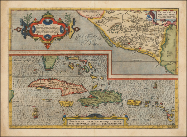 89-Southeast, Mexico and Caribbean Map By Abraham Ortelius