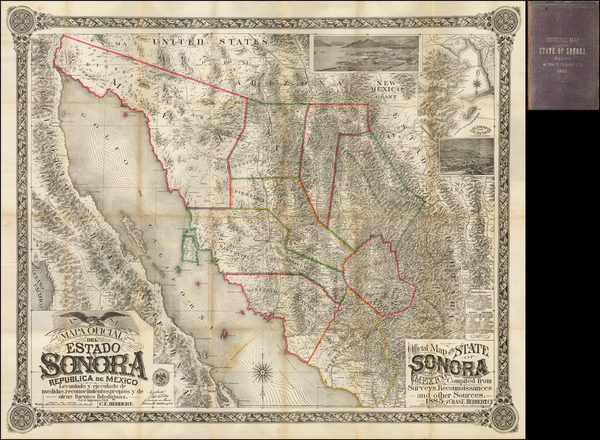 37-Southwest, Mexico, Baja California and California Map By Charles E. Herbert