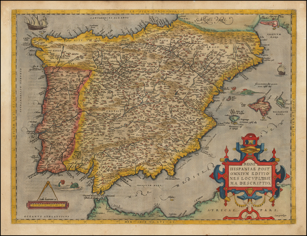 31-Spain and Portugal Map By Abraham Ortelius