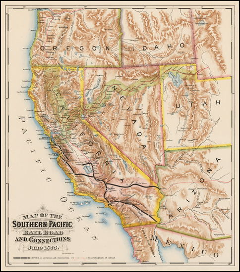 0-Arizona, Nevada and California Map By F. T. Newbery