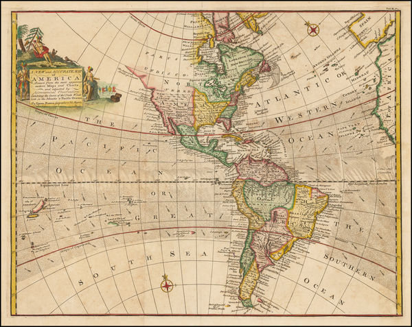 54-South America and America Map By Emanuel Bowen