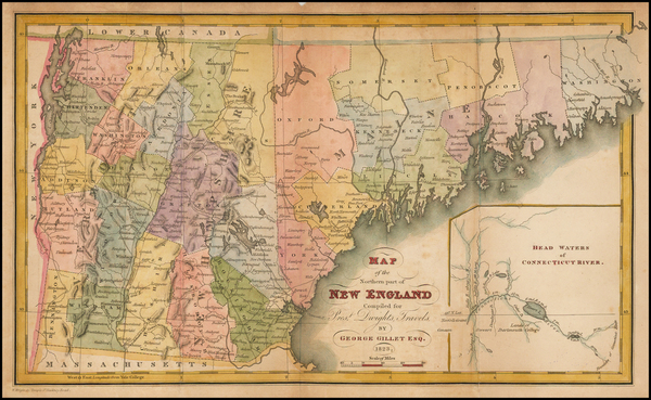 31-New England and Maine Map By George Gillet