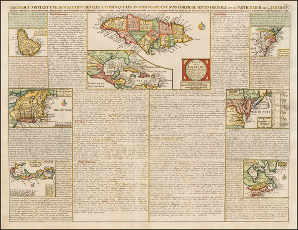92-New England, Mid-Atlantic, Southeast, Jamaica and Bermuda Map By Henri Chatelain