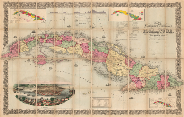 55-Caribbean and Cuba Map By Jose Maria De La Torre