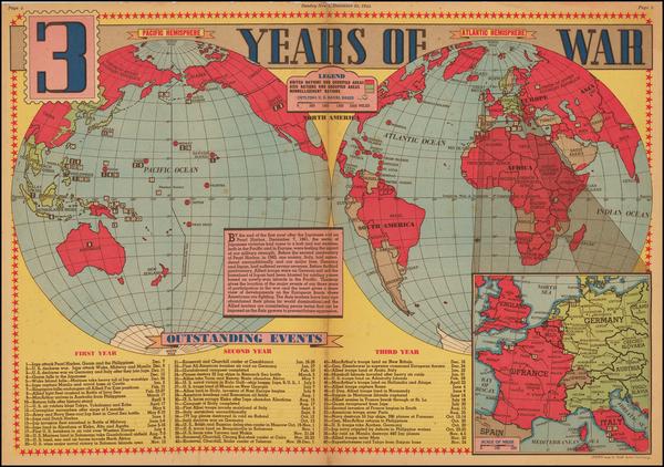 39-World, World and World War II Map By Edwin L. Sundberg