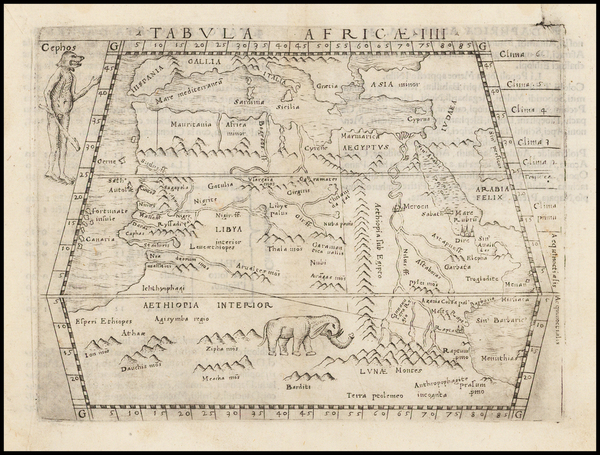66-Africa, North Africa, East Africa and West Africa Map By Giacomo Gastaldi