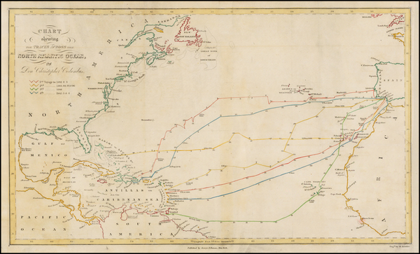 49-Atlantic Ocean, United States, South America and America Map By W. Kemble