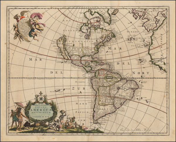 74-California as an Island and America Map By Johannes De Ram