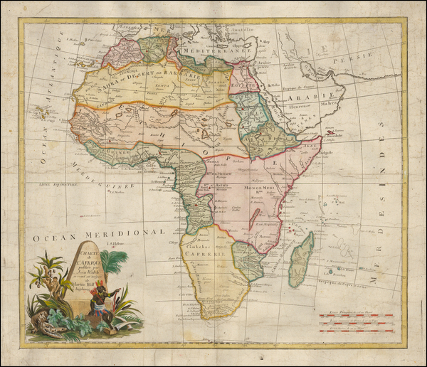 46-Africa and Africa Map By Johann Walch