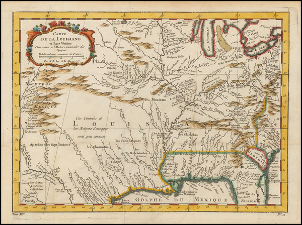 47-South, Southeast, Midwest and Southwest Map By Jacques Nicolas Bellin