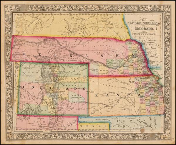 32-Plains, Kansas, Nebraska, Southwest, Rocky Mountains and Colorado Map By Samuel Augustus Mitche