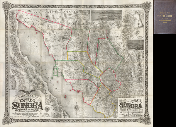 56-Southwest, Mexico, Baja California and California Map By Charles E. Herbert