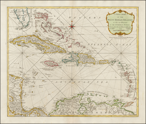 12-Florida, Caribbean, Cuba, Virgin Islands and Bahamas Map By Robert Sayer  &  John Bennett