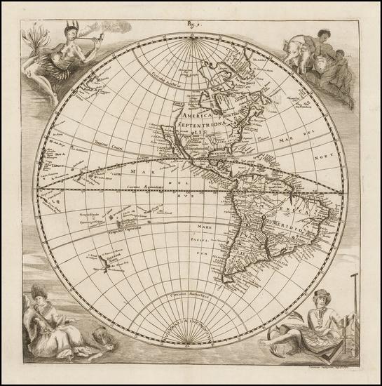 17-Western Hemisphere, California as an Island and America Map By Eberhard Werner  Happel