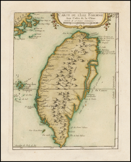 66-China Map By Jacques Nicolas Bellin