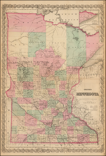 52-Midwest, Minnesota and Plains Map By G.W.  & C.B. Colton