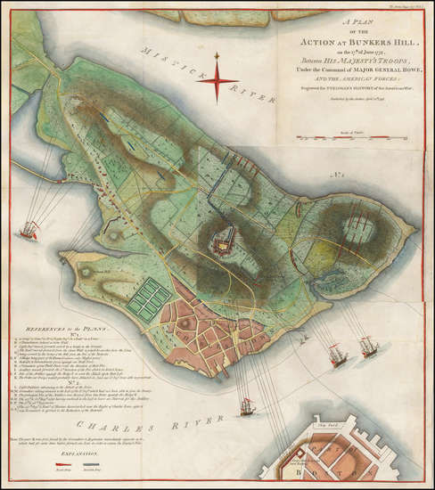 46-New England and Massachusetts Map By Charles Stedman / William Faden