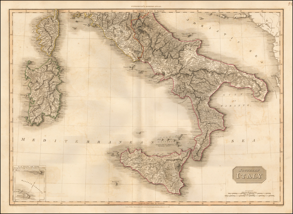 90-Italy and Southern Italy Map By John Pinkerton